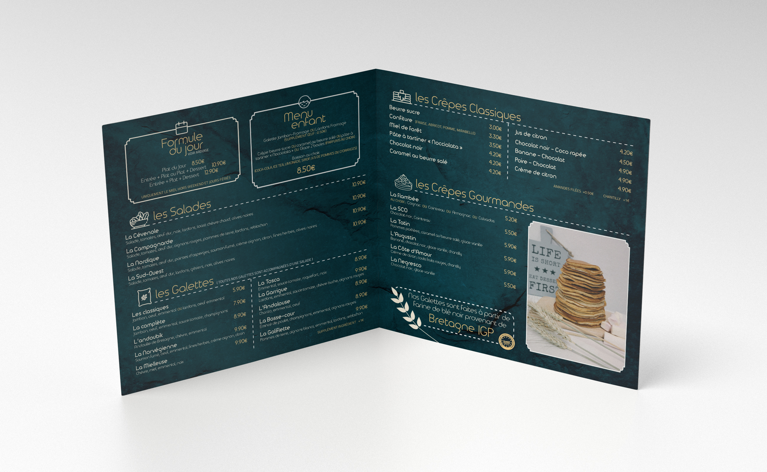 carte de menu restaurant creperie